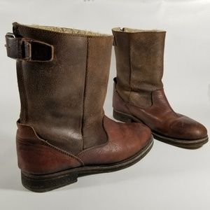All Saints Brown Leather Insulated Moto Boots